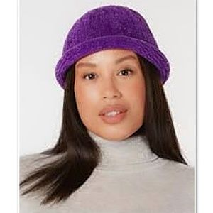 NWT! August Hat Co. Chenille Roll up Hat Purple OS